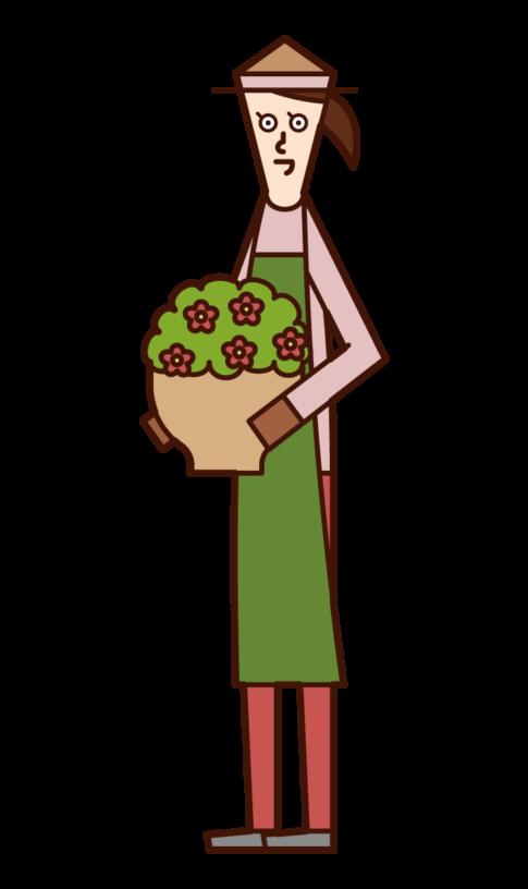 プランターを運ぶ人(女性)のイラスト