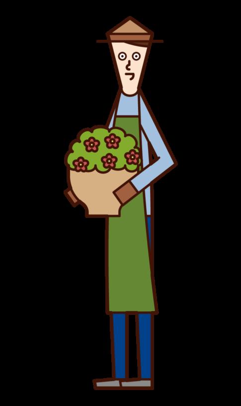 プランターを運ぶ人(男性)のイラスト