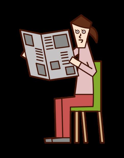 신문을 읽는 여성의 일러스트