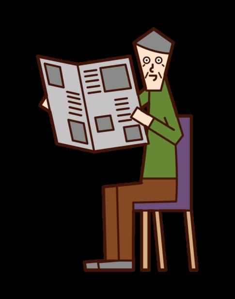 신문을 읽는 사람들의 일러스트