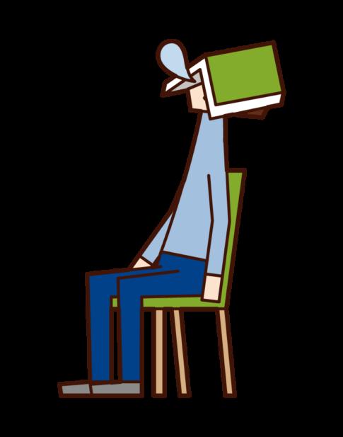 책에 앉아 자고있는 사람 (남성)의 그림