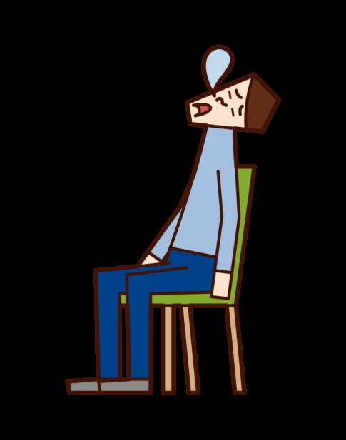 坐在椅子上睡覺的人的插圖