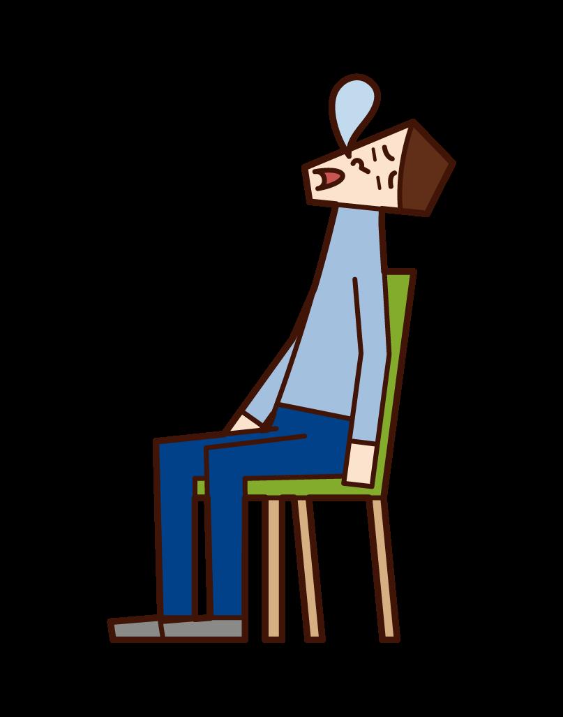 의자에 앉아 자고있는 사람들의 그림