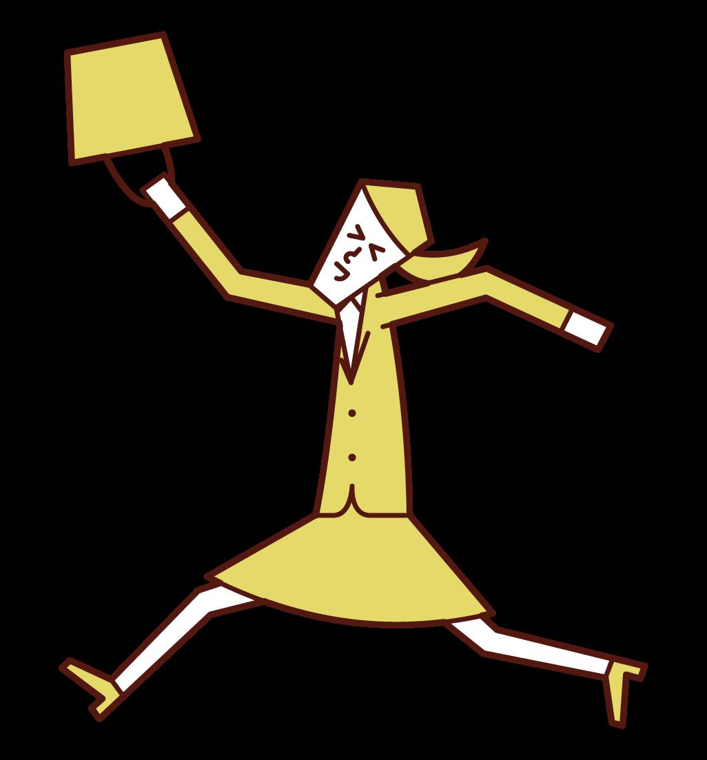 嬉しそうに飛び跳ねる人(女性)のイラスト