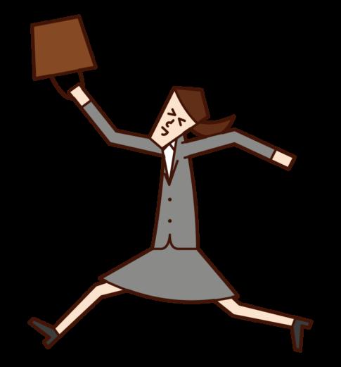 一個快樂地跳來跳去的人(女人)的插圖