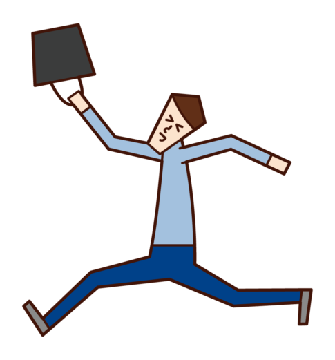 快樂跳躍的人(男性)的插圖