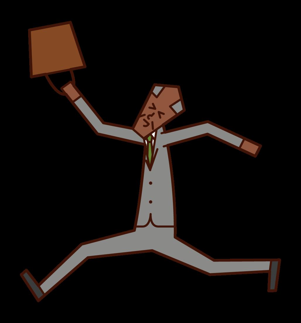 嬉しそうに飛び跳ねる人(おじいさん)のイラスト