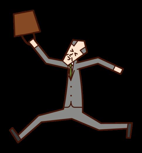 一個快樂地跳來跳去的人的插圖