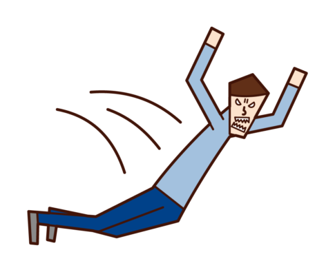 飛びかかる人(男性)のイラスト
