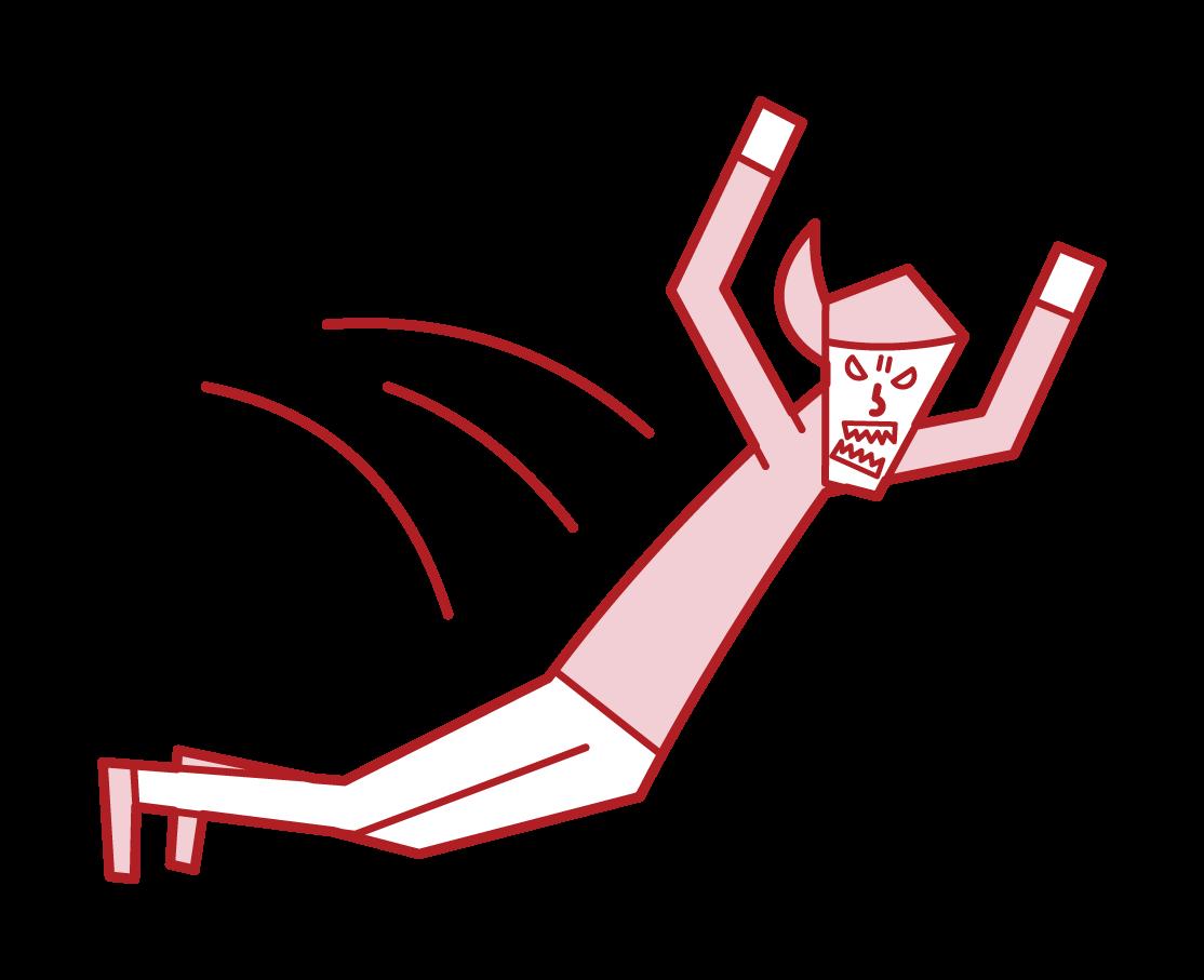 飛びかかる人(女性)のイラスト
