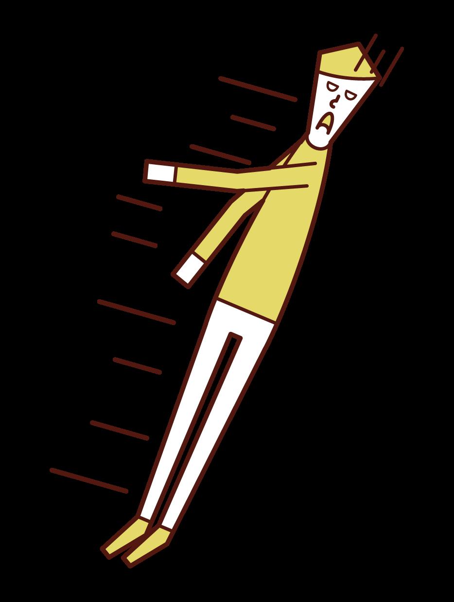 失神して倒れる人(男性)のイラスト