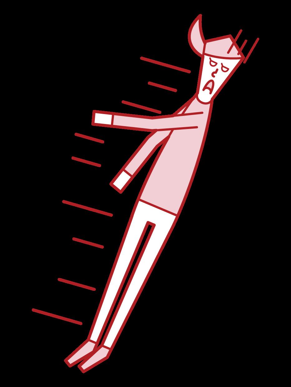 失神して倒れる人(女性)のイラスト