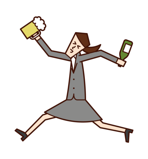 Illustration of a woman who drinks alcohol
