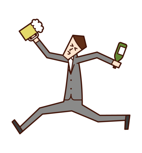 Illustration of a man who drinks alcohol with fun