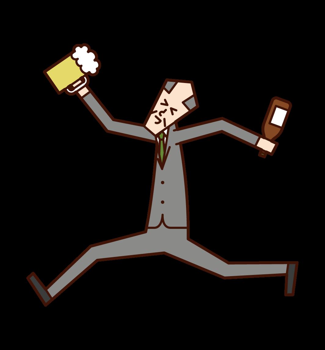 喜歡喝酒的人(男性)的插圖