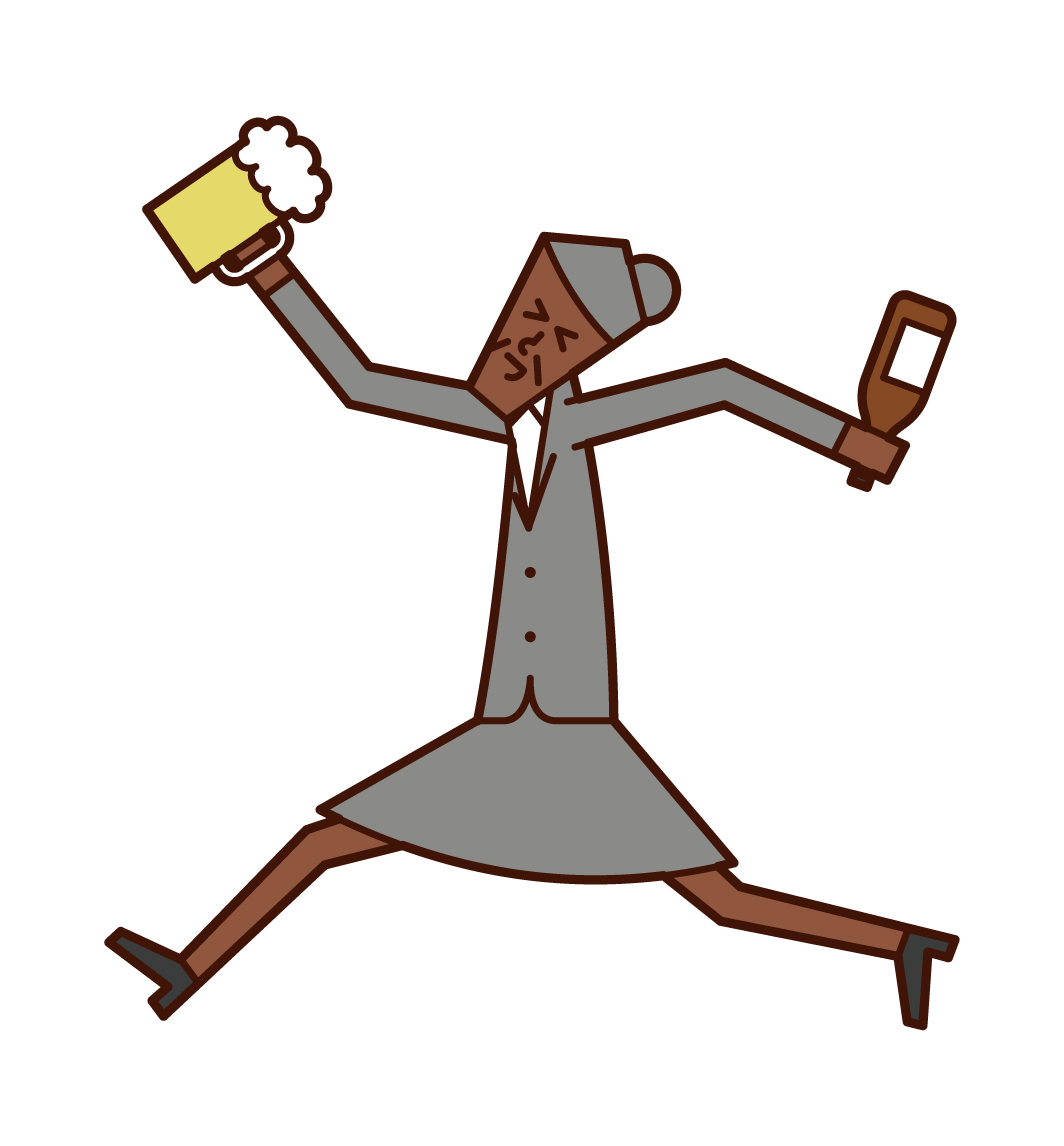 享受飲酒的人(女性)的插圖