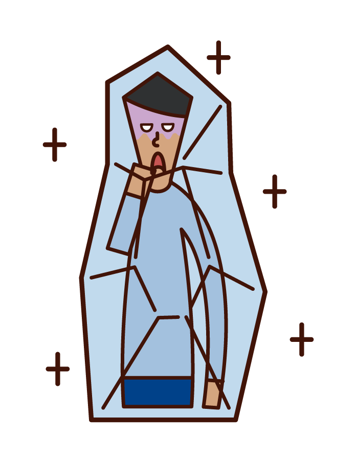 Illustration of a frozen person (male)