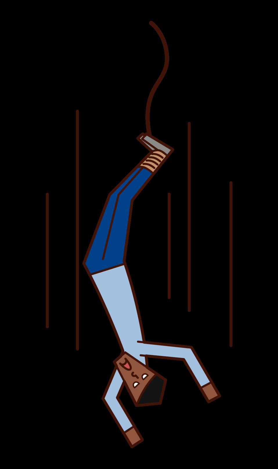 蹦極(男性)的插圖