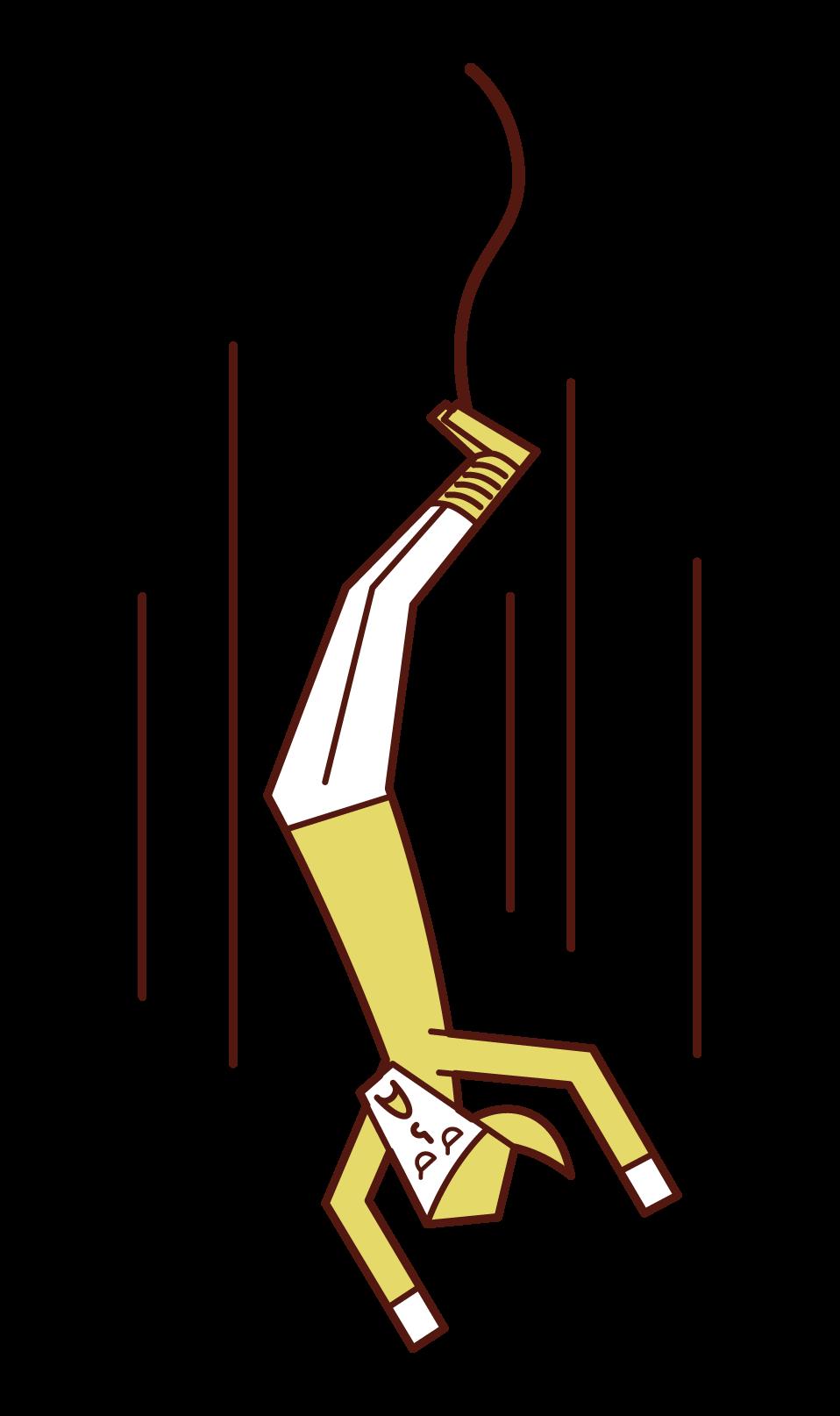 バンジージャンプをする人(女性)のイラスト