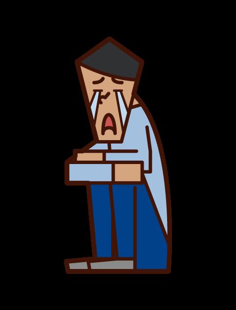 座り込んで泣く人(男性)のイラスト