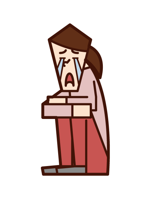 Illustration of a woman sitting down and crying