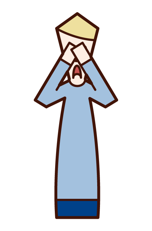 Illustration of a man covering his face