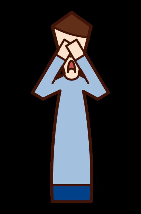 遮蓋臉的人(男性)的插圖
