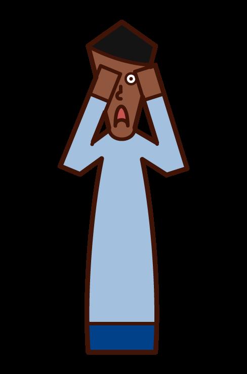 遮住眼睛的人(男性)的插圖