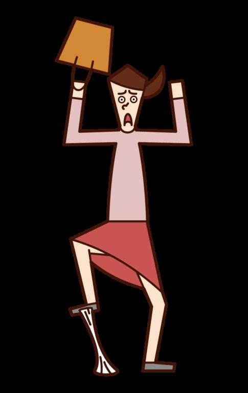 踩口香糖的人(女性)的插圖