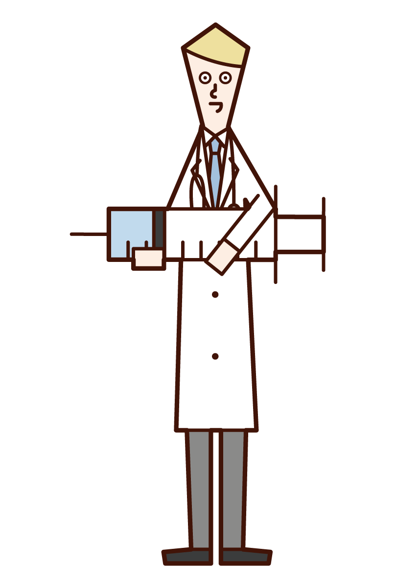 Illustration of a doctor (male) with a large syringe