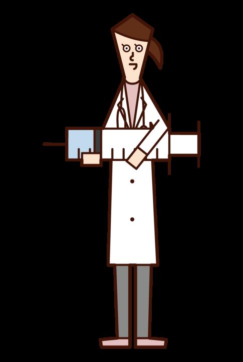 큰 주사기와 의사 (여성)의 그림