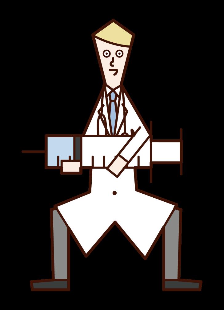 큰 주사기와 의사 (남성)의 그림