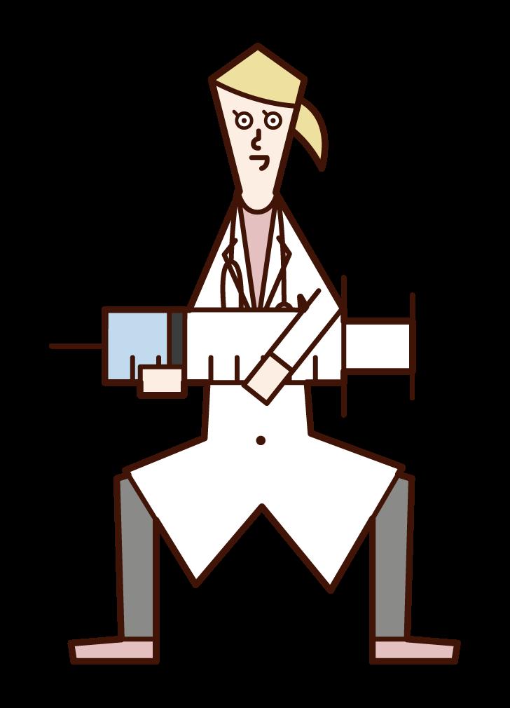 大きな注射器を持つ医師(女性)のイラスト
