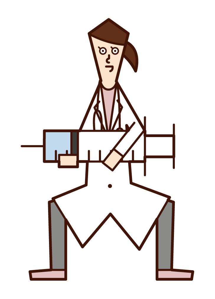 Illustration of doctor (woman) with large syringe