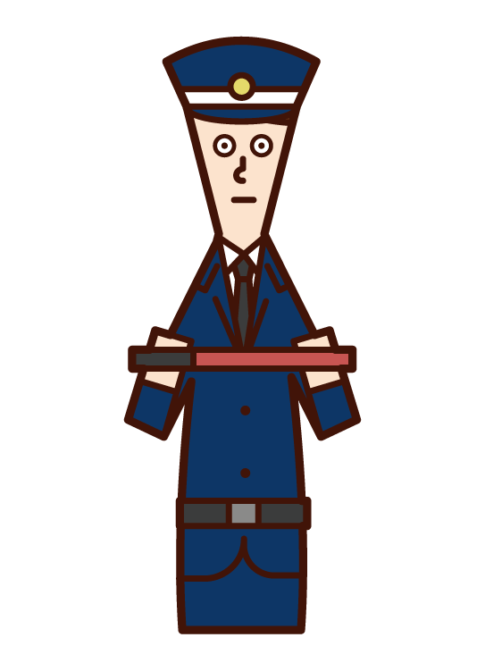 Illustration of a security guard (male)