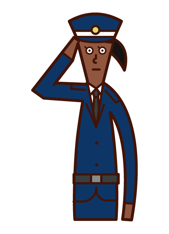 Illustration of a security guard (woman) making a salute
