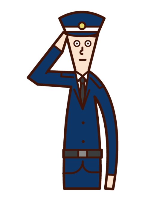 Illustration of a security guard (male) dinging a salute