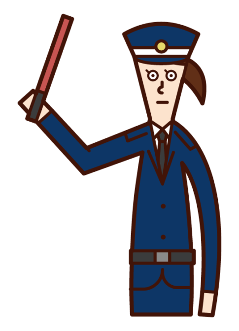 Illustration of a security guard (woman) who maintains traffic