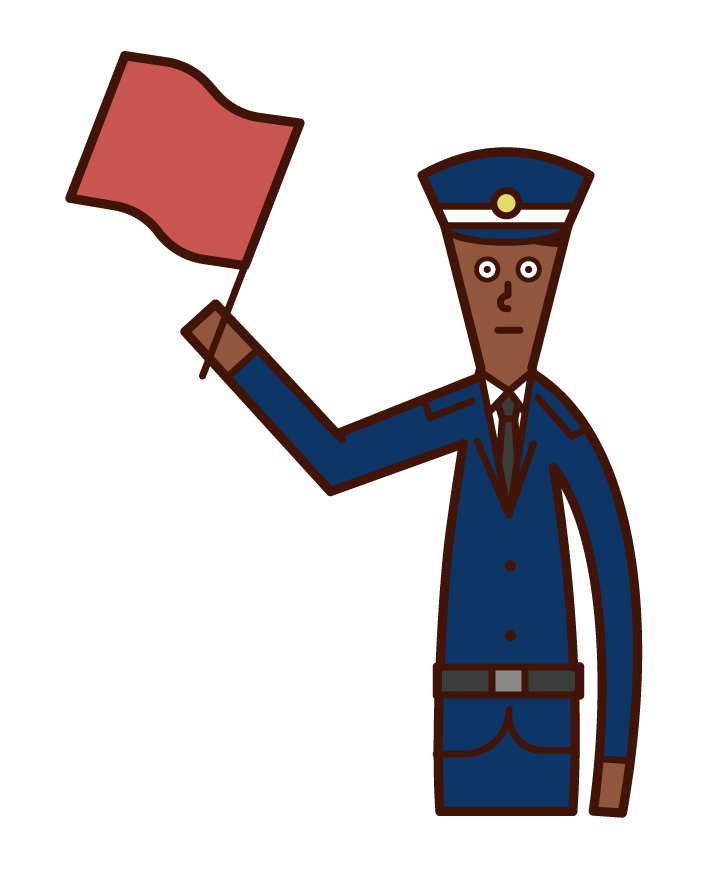 交通整備をする警備員(男性)のイラスト