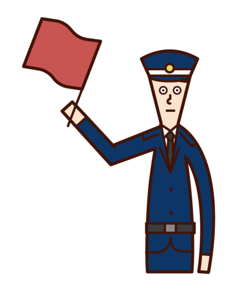 Illustration of a security guard (man) maintaining traffic