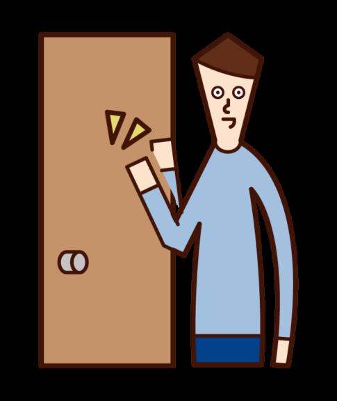 문을 두드리는 사람 (남성)의 그림