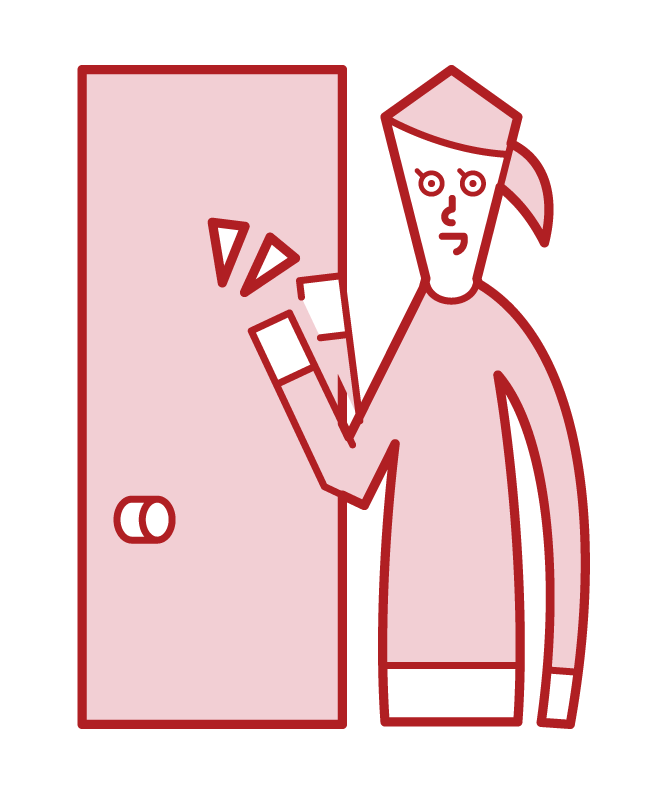 문을 두드리는 사람 (여성)의 그림