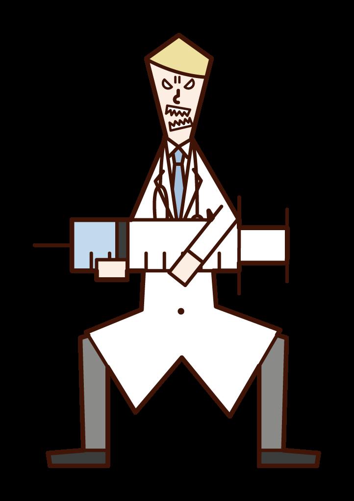 Illustration of doctor (male) hitting a large syringe