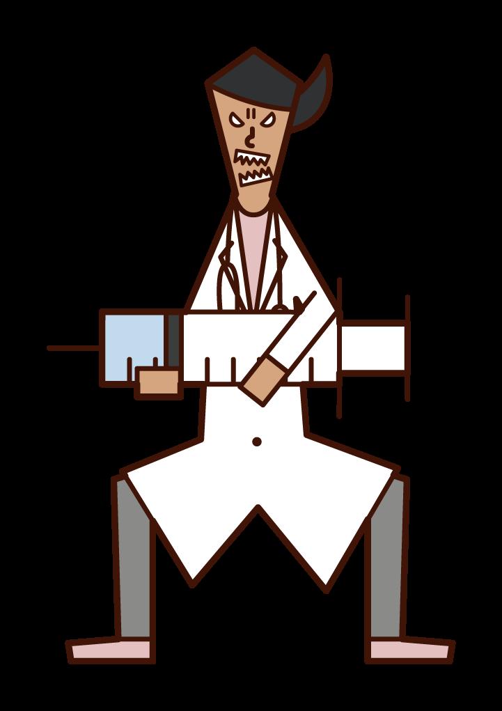 大きな注射器を打つ医師(女性)のイラスト