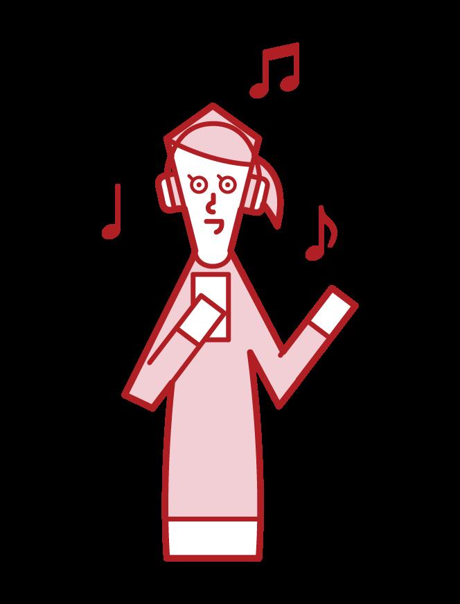 ヘッドフォンで音楽を聴く人(女性)のイラスト