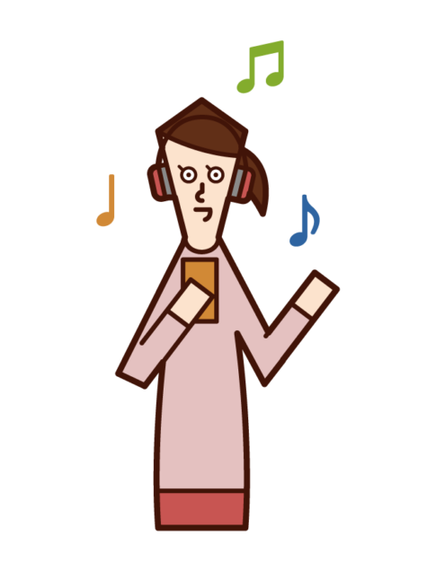Illustration of a woman listening to music with headphones