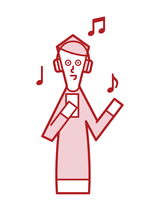 헤드폰으로 음악을 듣는 사람들의 일러스트
