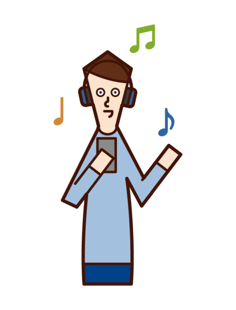 Illustration of a man listening to music with headphones