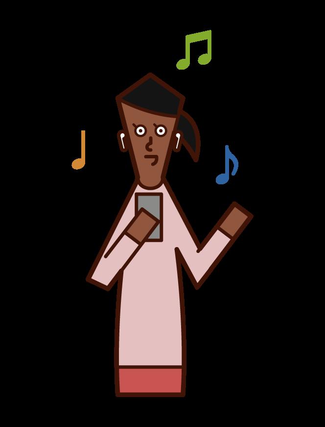 イヤフォンで音楽を聴く人(女性)のイラスト