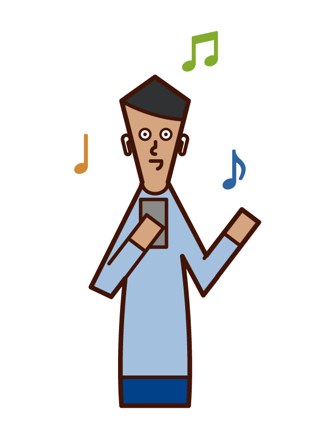 イヤフォンで音楽を聴く人(男性)のイラスト